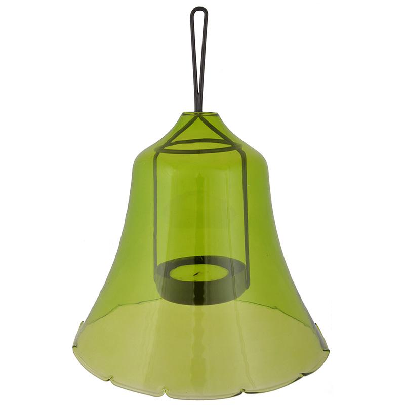 Csengő alakú zöld mécsestartó