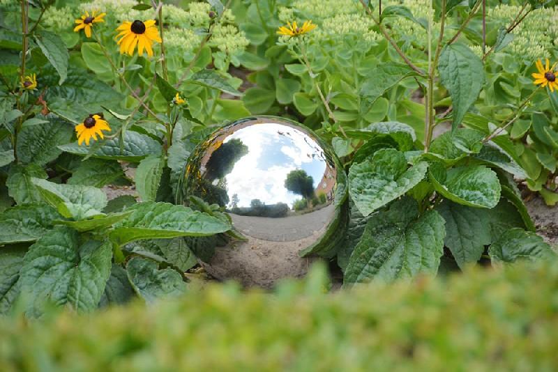 Rozsdamentes acél dekor gömb, M
