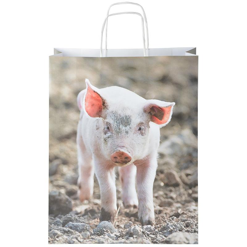Farm állatos papírtáska 41 x 32 cm, malacos