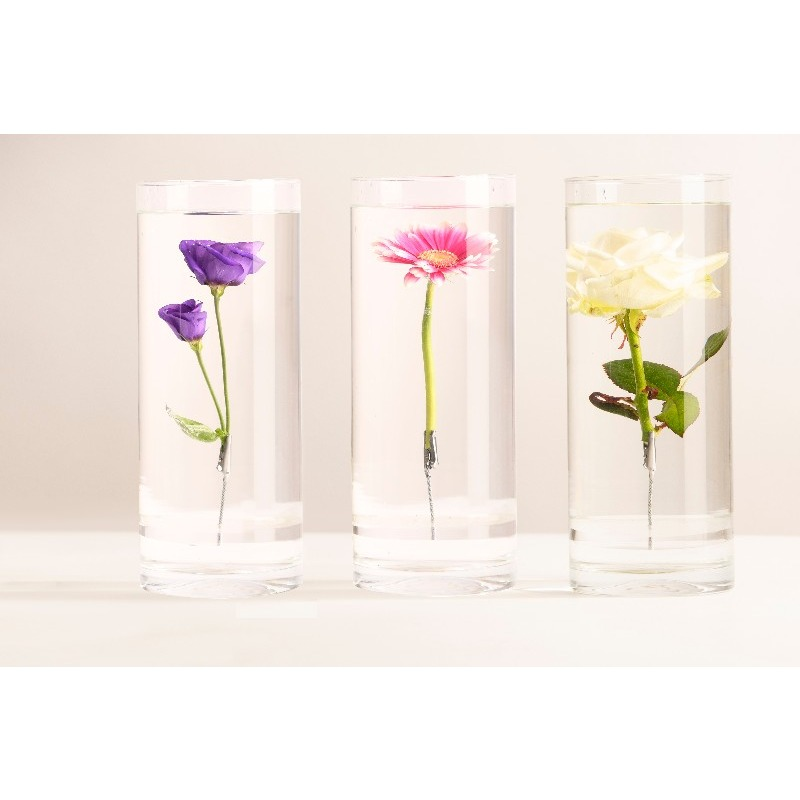 Henger alakú üveg váza, merülő virágoknak, L