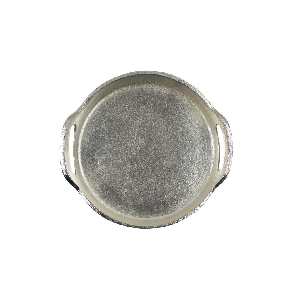 Ezüstös kínáló tálca, kerek 27 cm