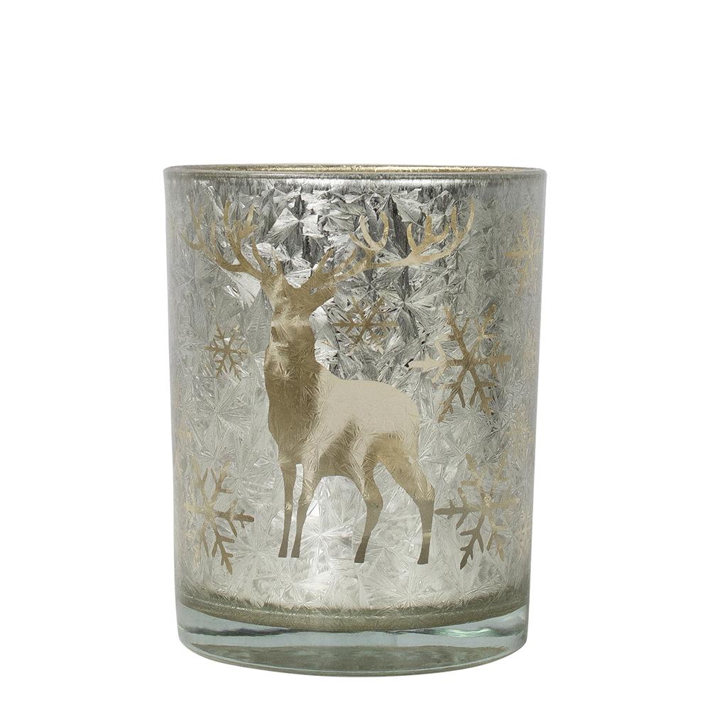 Teamécses tartó fehér/arany üveg, szarvas sziluettel S