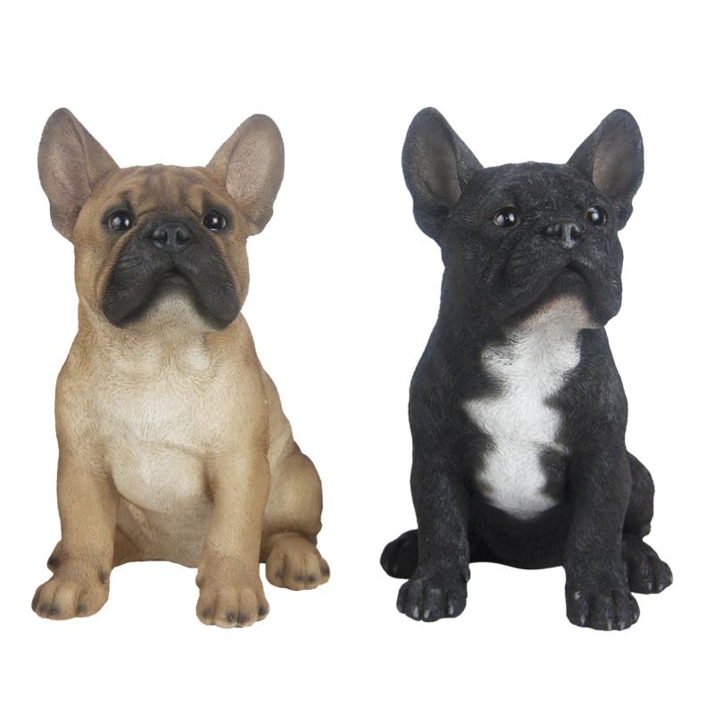Ülő francia bulldog kutya szobor, 2 féle
