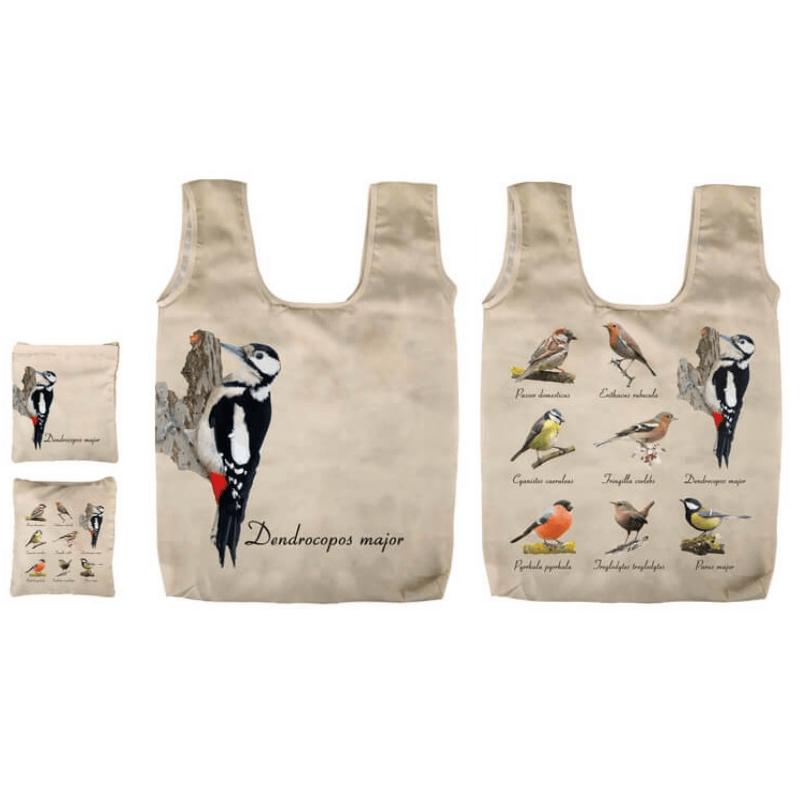 Összehajtható madaras táska