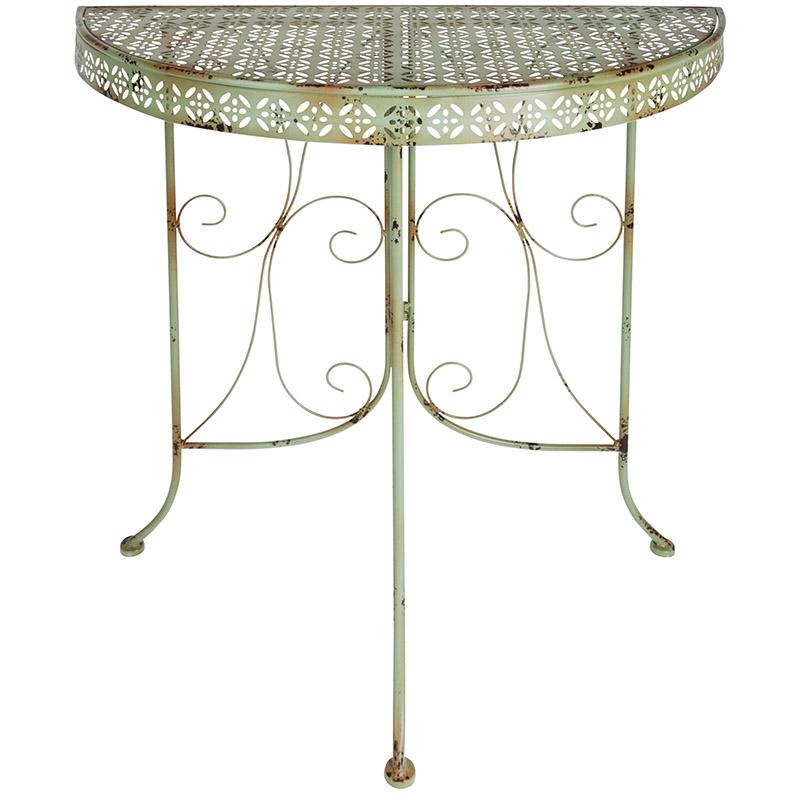 Asztal, félkör alakú, zöld
