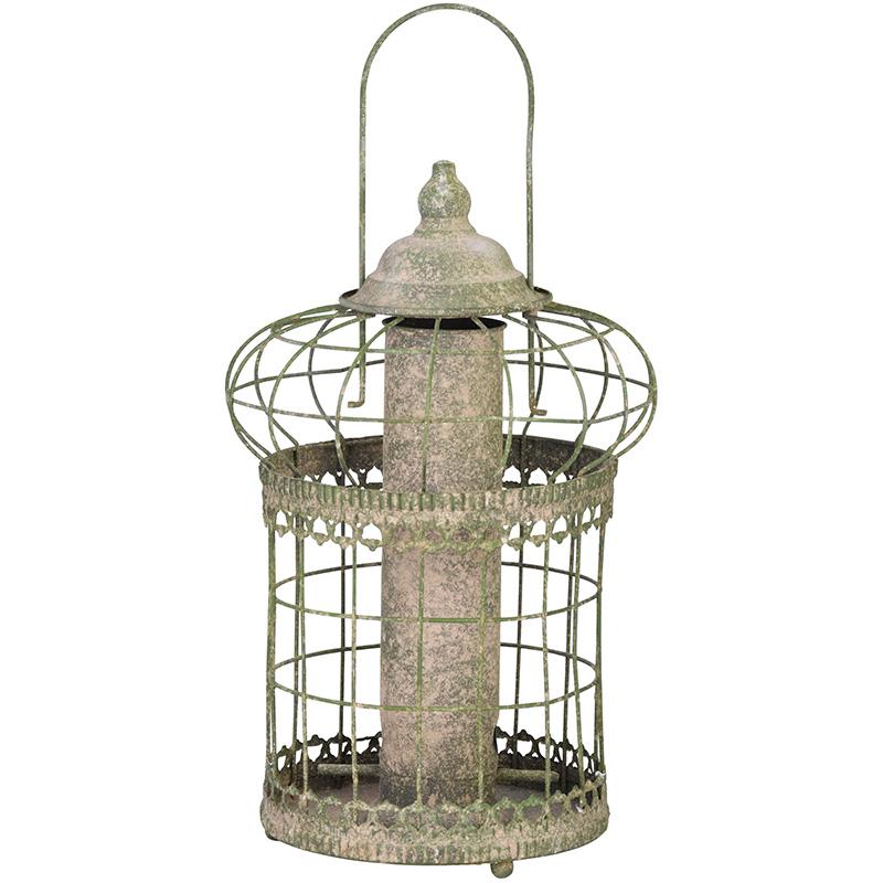 Antik madáretető védőráccsal, apró magvakhoz
