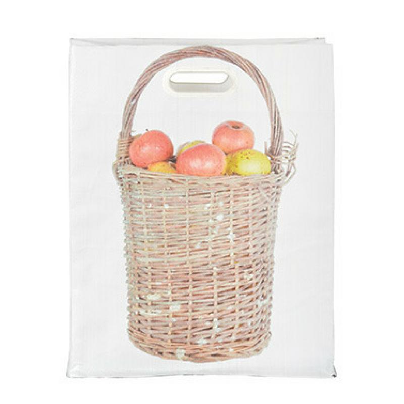 Bevásárló táska, almaszedő kosár mintával