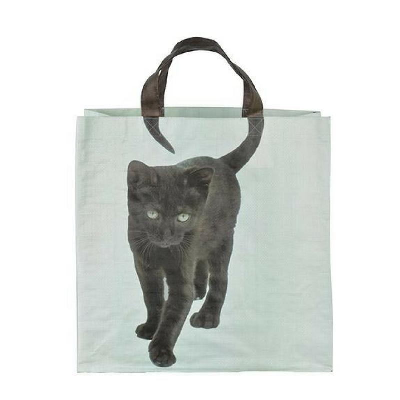 Bevásárló táska, fekete cica mintával