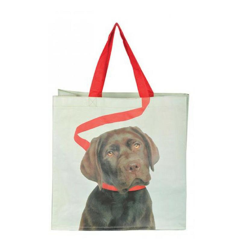 Bevásárló táska, sötétbarna kutyás mintával