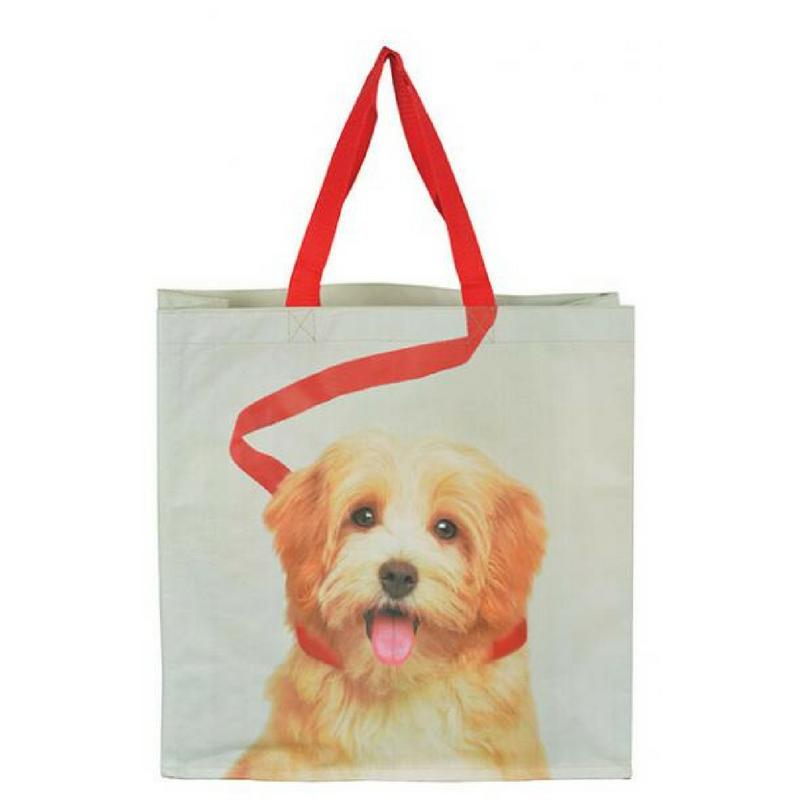 Bevásárló táska, világosbarna kutyás mintával