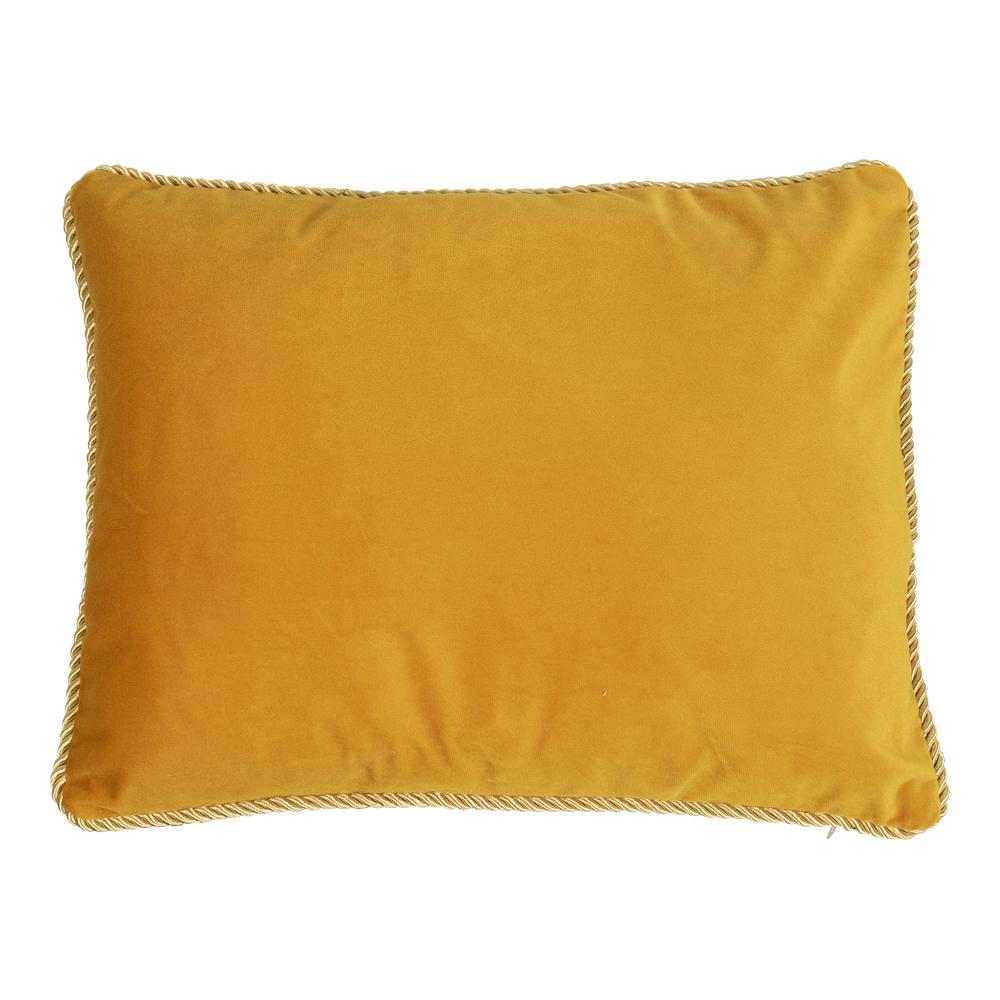 Bársony díszpárna arany szegéllyel, méz, 35x45cm