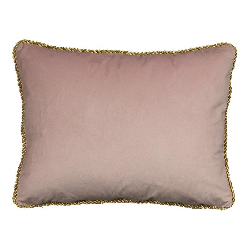 Bársony díszpárna arany szegéllyel, rózsaszín, 35x45cm