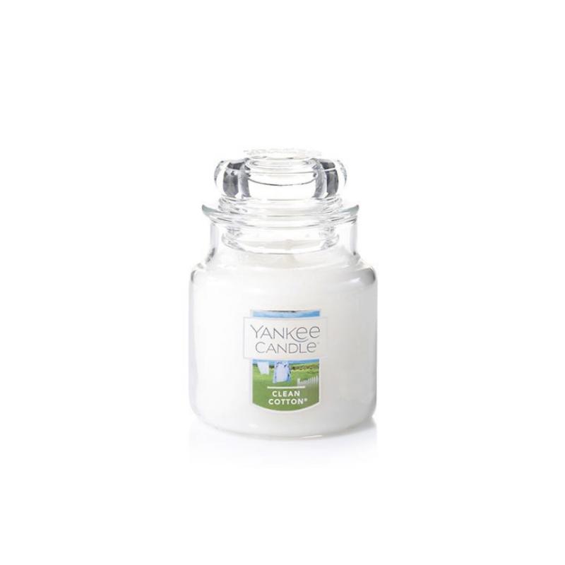 Clean Cotton, Yankee Candle illatgyertya, kicsi üveg (pamut, zöld levelek)