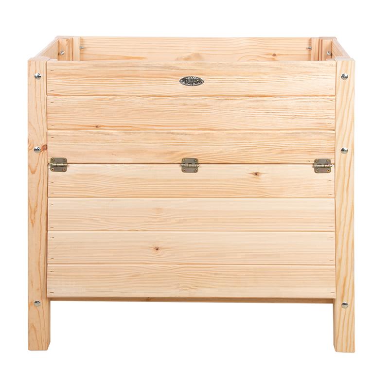 Fából készült magaságyás, felnyitható polcos tároló résszel, 78 x 40 cm