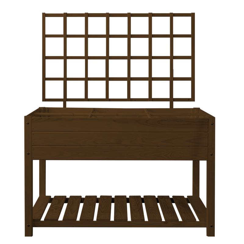 Fából készült magaságyás lugas, barna, L, 118 cm