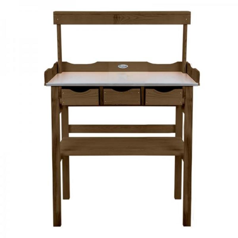 Fából készült ültetőasztal polccal és fiókokkal, barna, 113 x 80 x 38 cm