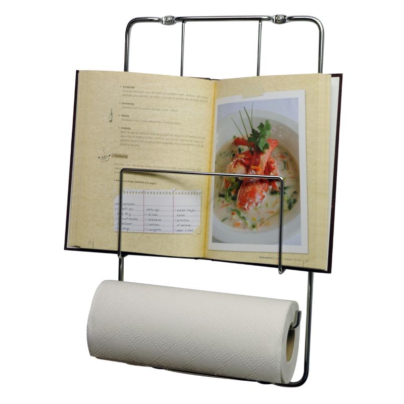 Fali szakácskönyv és papírtörlő tároló, króm