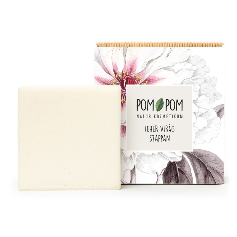 Fehér virág szappan, Pom-Pom