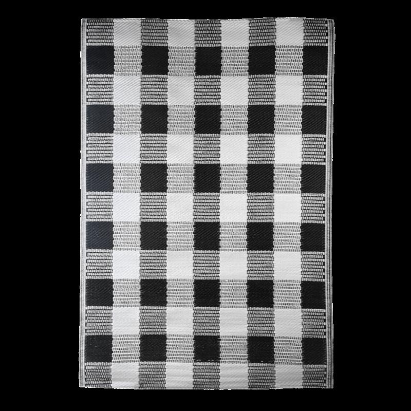 Fekete-fehér kockás, téglalap alakú, kétoldalú kültéri szőnyeg
