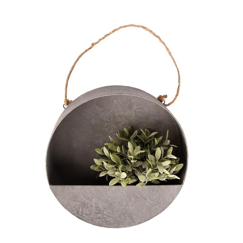 Felakasztható, kerek fali virágtartó dekoráció, S