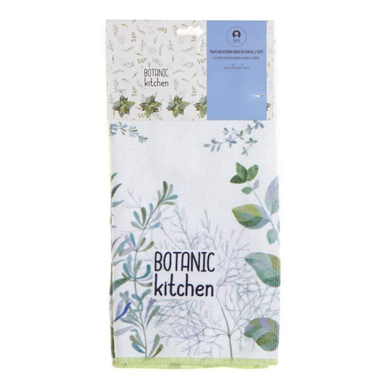 Gyógynövény mintás konyharuha - zöld
