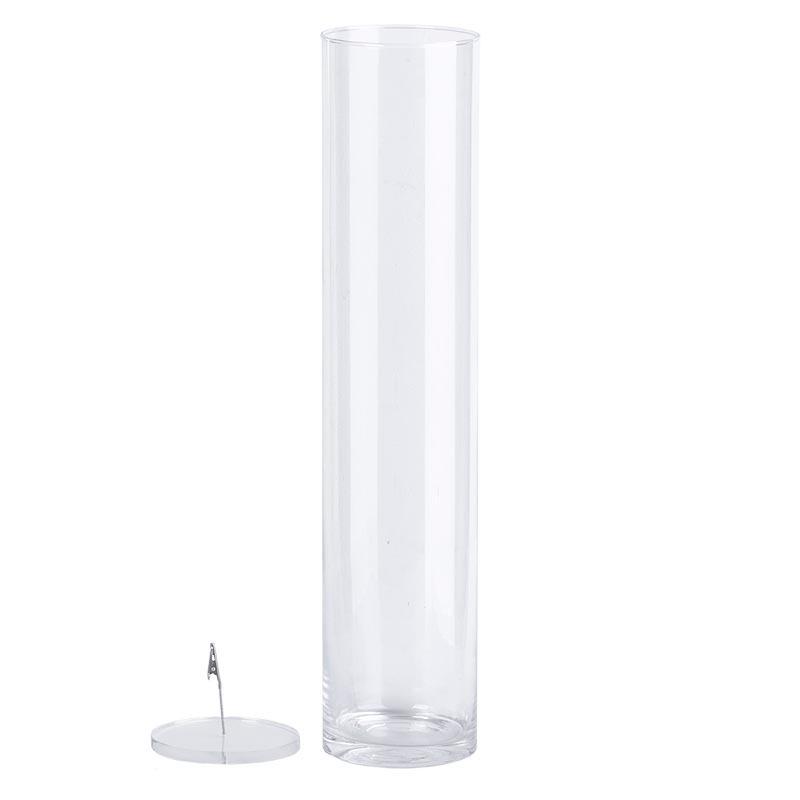 Henger alakú üveg váza, vízbe merülő virágoknak, XXL