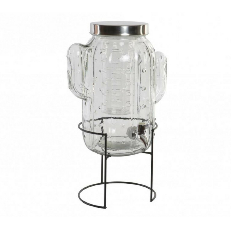 Kaktusz limonádés üveg állvánnyal, 5 literes