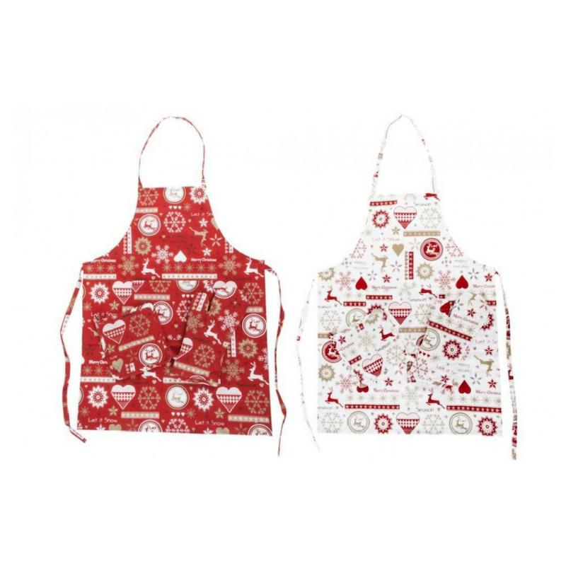 Karácsonyi mintás konyhai kötény szett, 4 darabos