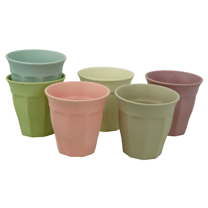 Környezetbarát  L-es pohár szett, 6 db-os, vegyes pasztell színű