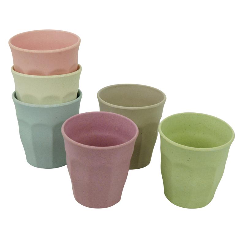 Környezetbarát  M-es pohár szett, 6 db-os, pasztell színű