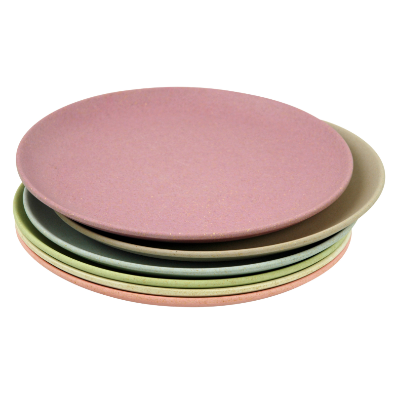 Környezetbarát desszertes tányér szett, 6 db-os, vegyes pasztell színű