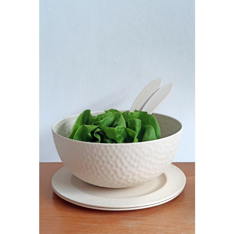 Környezetbarát lapos tányér, törtfehér