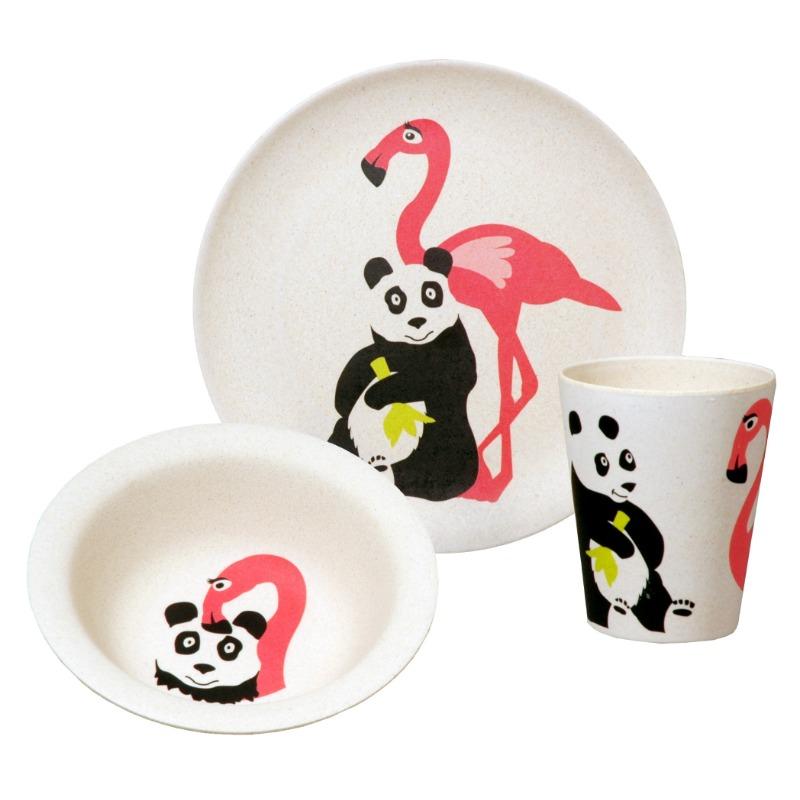 Környezetbarát flamingó és panda mintás étkészlet gyerekeknek