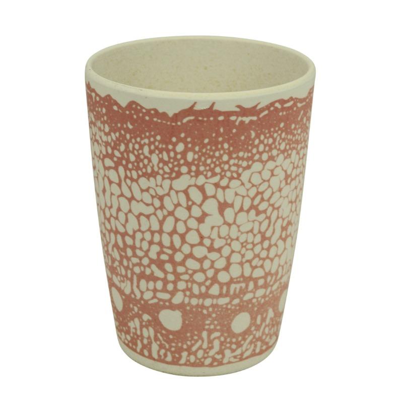 Környezetbarát pohár, rózsaszín mintával