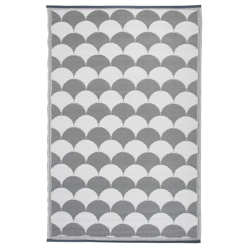 Kültéri szőnyeg, szürke-fehér mintával