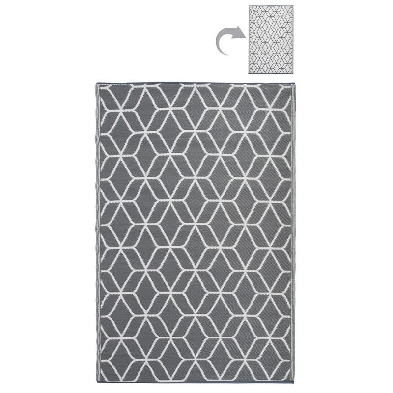 Kültéri szőnyeg, szürke-fehér kocka mintával