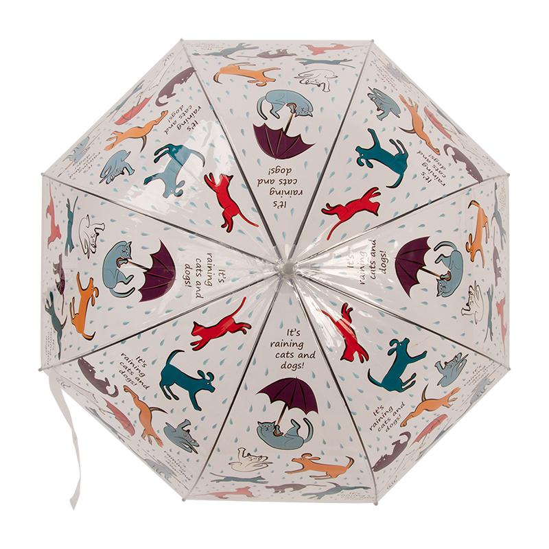 Kutya és macska mintás átlátszó esernyő