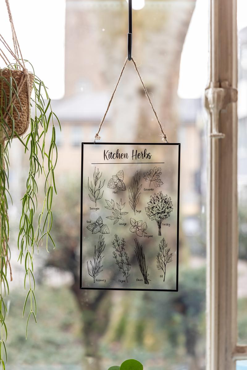 Fűszernövény mintás átlátszó üvegkép dekoráció