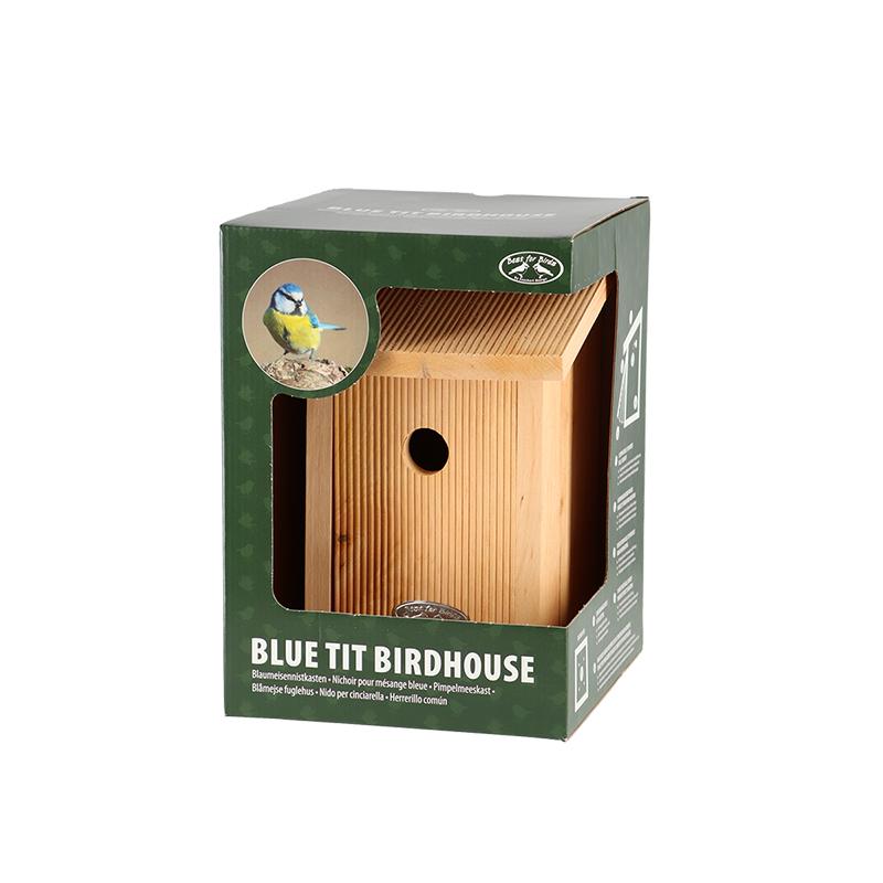 Madárház kék cinegének, ajándék dobozzal