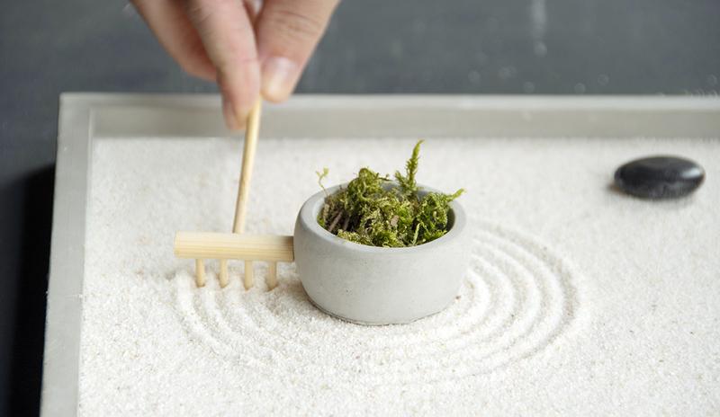 Meditációs kör alakú Zen kert dekoráció, 5 részes szett ajándék dobozzal