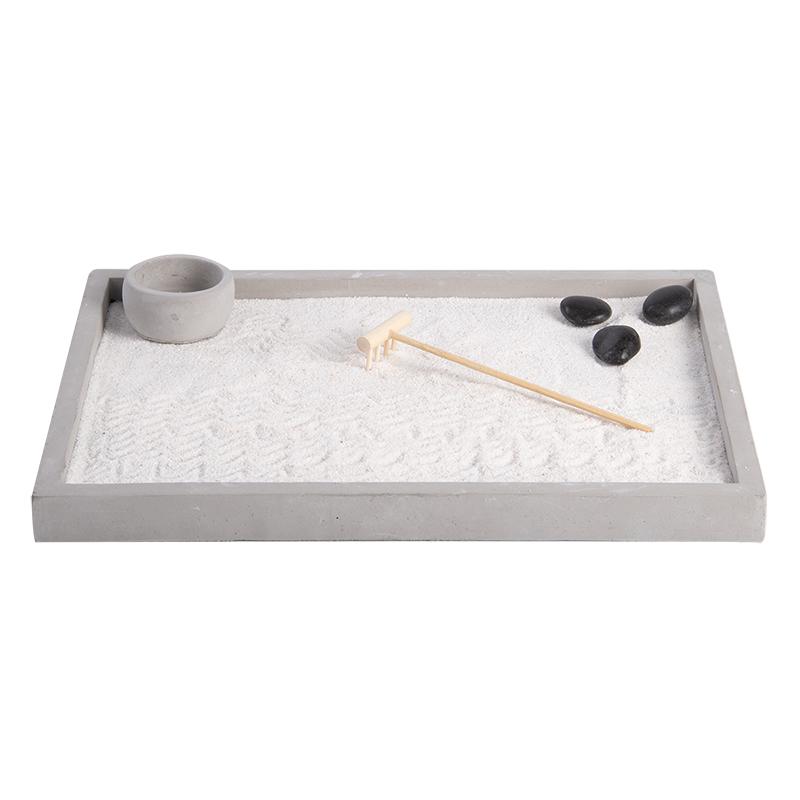 Meditációs négyzet alakú Zen kert dekoráció, 5 részes szett ajándék dobozzal, L