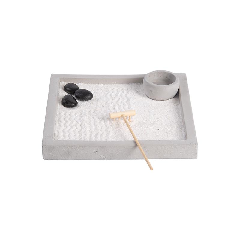 Meditációs négyzet alakú Zen kert dekoráció, 5 részes szett ajándék dobozzal, S