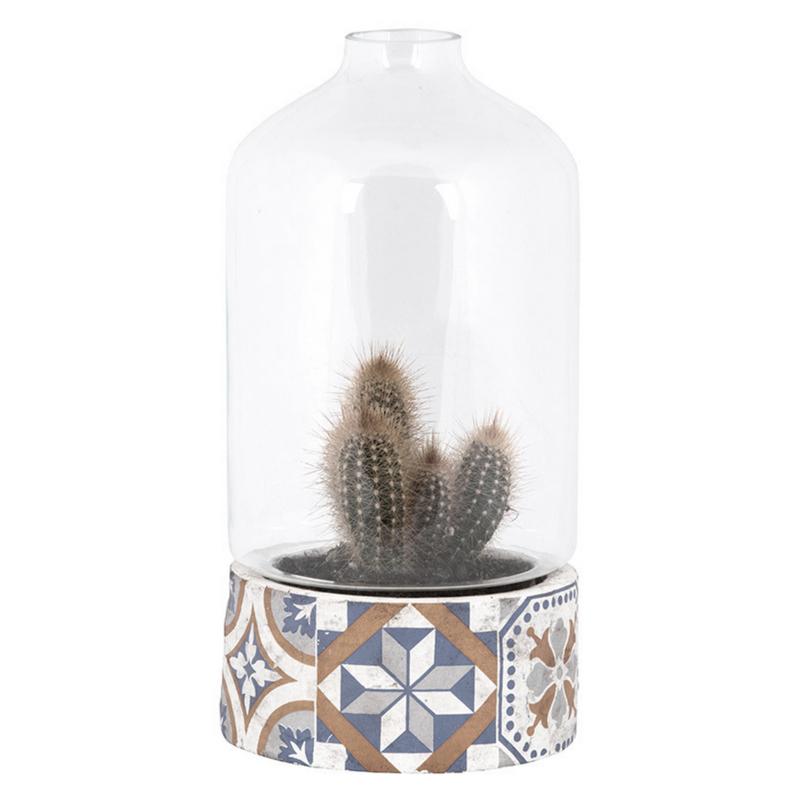 Mediterrán mozaikos cserép üvegbúrával