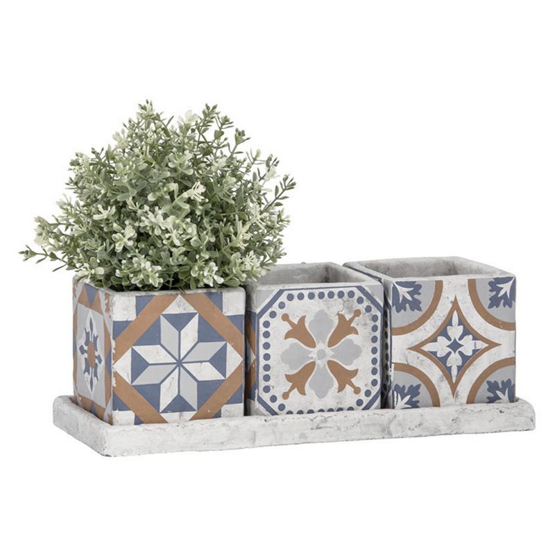 Mediterrán mozaikos virágcserép szett