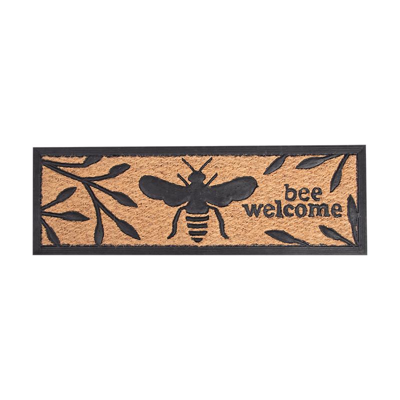 Méhecske mintás gumi és kókuszrost lábtörlő, 75 x 25 cm