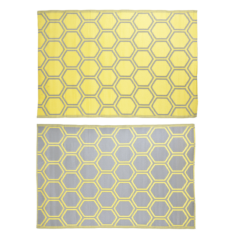 Méhsejt mintás, téglalap alakú, kétoldalú kültéri szőnyeg