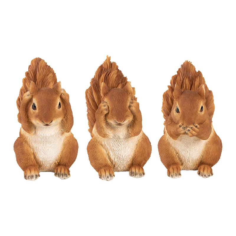 3 bölcs mókus, nem, lát, nem hall, nem beszél polyresin szobor, 3 féle
