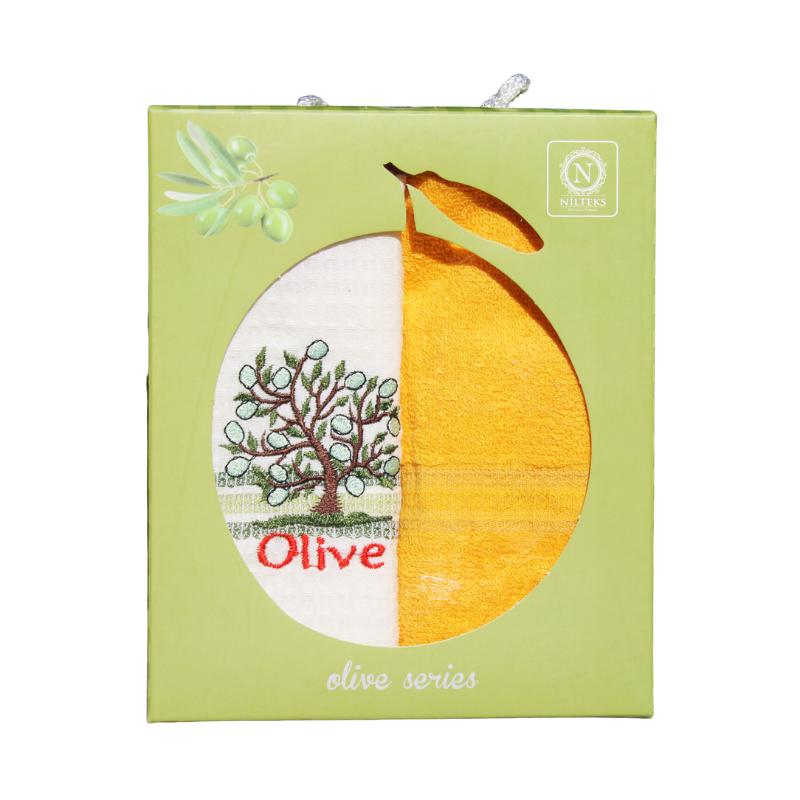 Olivás konyharuha és konyhai törölköző díszdobozban, 2 db-os