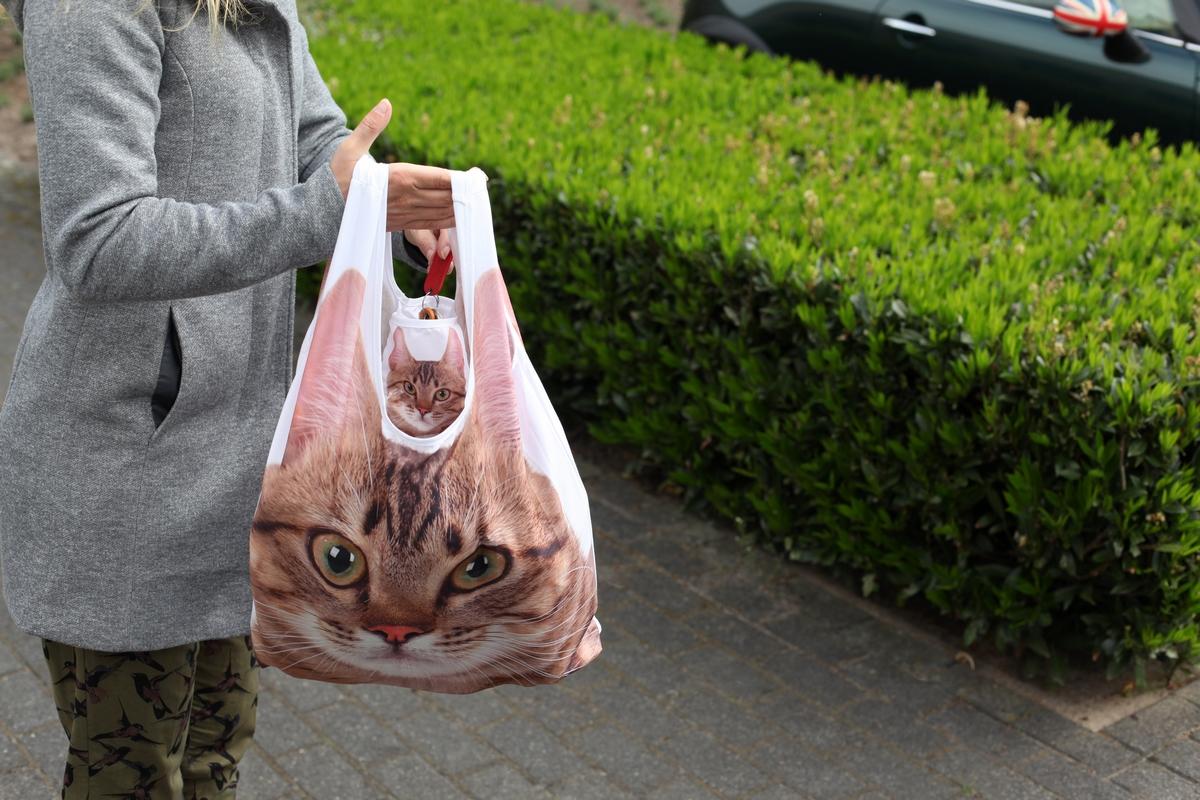 Összehajtható cicás táska