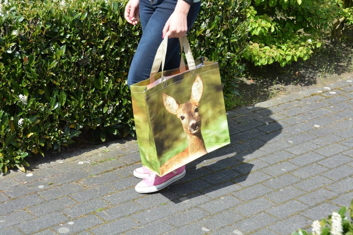 Őzikés bevásárlótáska kétféle mintával